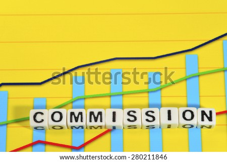 Business Term with Climbing Chart / Graph - Commission - stock photo
