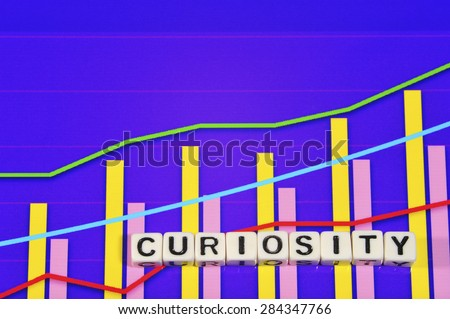 Business Term with Climbing Chart / Graph - Curiosity  - stock photo
