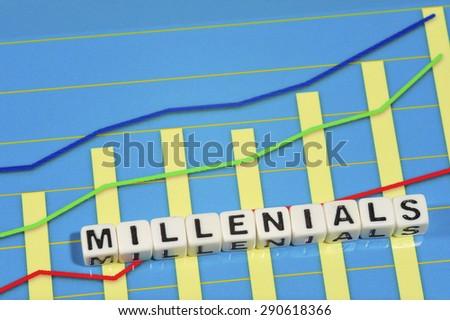Business Term with Climbing Chart / Graph - Millenials - stock photo