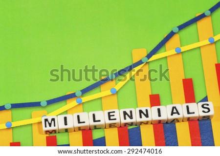 Business Term with Climbing Chart / Graph - Millennials - stock photo