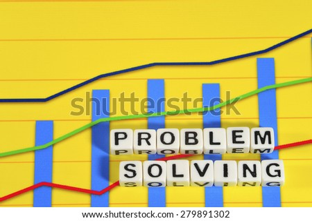 Business Term with Climbing Chart / Graph - Problem Solving - stock photo