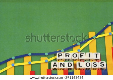 Business Term with Climbing Chart / Graph - Profit And Loss - stock photo