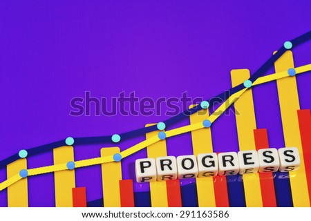 Business Term with Climbing Chart / Graph - Progress - stock photo