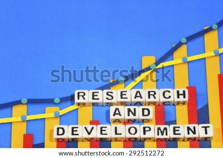 Business Term with Climbing Chart / Graph - Research And Development - stock photo