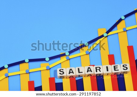 Business Term with Climbing Chart / Graph - Salaries - stock photo
