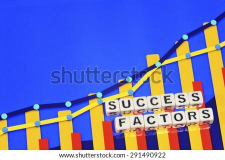 Business Term with Climbing Chart / Graph - Success Factors - stock photo
