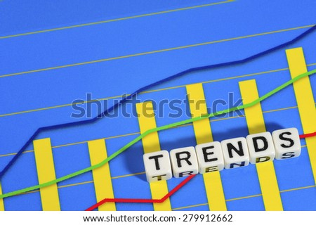 Business Term with Climbing Chart / Graph - Trends - stock photo