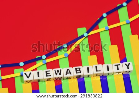 Business Term with Climbing Chart / Graph - Viewability - stock photo