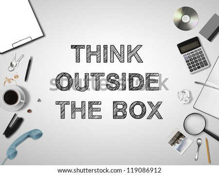business things and think outside the box - stock photo