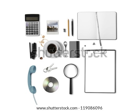 business things on white background - stock photo