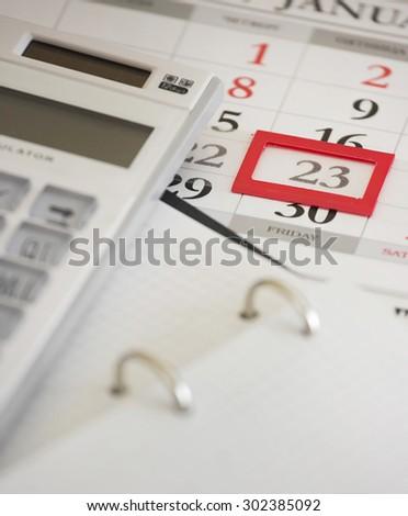 Business time.Calculator & calendar background. - stock photo