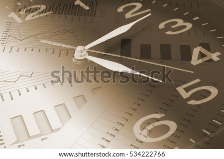 Business time concept, calculator on financial charts and graphs, collage with clock.