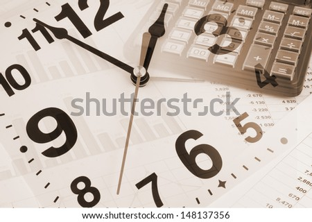 Business time concept with calculator, clock and documents
