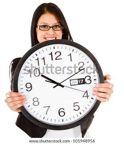 Business time with a woman holding a clock - isolated over white - stock photo