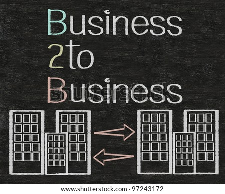 business to business B2B written on blackboard background with icons - stock photo