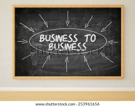 Business to Business - 3d render illustration of text on black chalkboard in a room. - stock photo