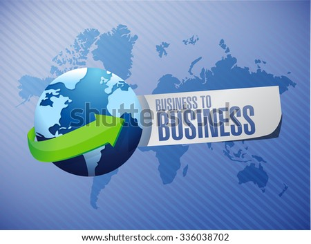 business to business international globe sign concept illustration design graphic - stock photo