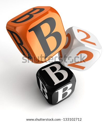 business to business orange black dice blocks on white background. clipping path included - stock photo