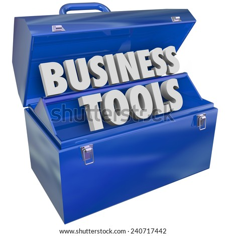 Business Tools 3d words in a blue toolbox to illustrate enterprise resources, management software and applications to help run a company - stock photo