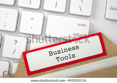 Business Tools. Red Folder Register Concept on Background of White PC Keyboard. Business Concept. Close Up View. Selective Focus. 3D Rendering. - stock photo