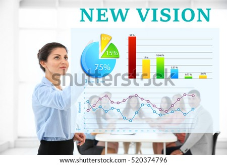 Business trainer at conference. Business coaching and development concept. Text NEW VISION on background.