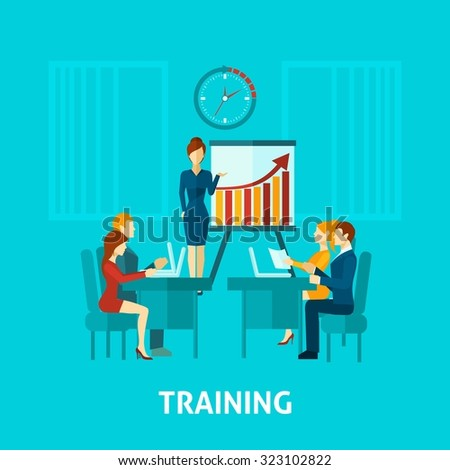 Business training flat icon with businessmen in office and speaker making presentation  illustration - stock photo
