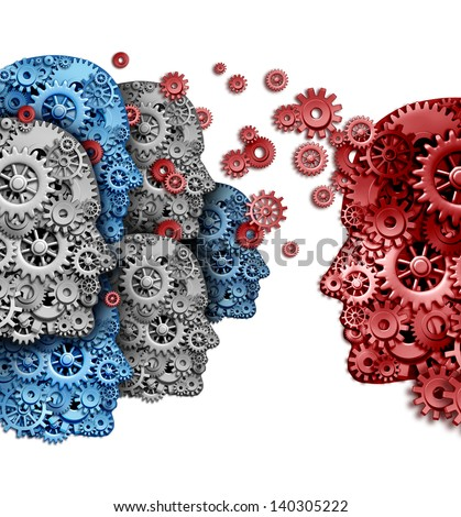 Business training group organization as a team of students learning from a mentor in red sharing a common vision for education success as gears and cogs shaped as a human head on a white background. - stock photo