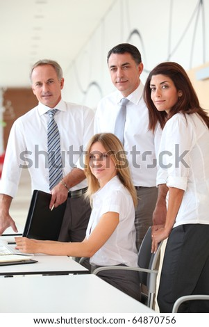 Business training in modern offices - stock photo