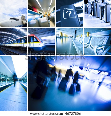 business travel background about train and airplane,the concept about passenger traveling. - stock photo