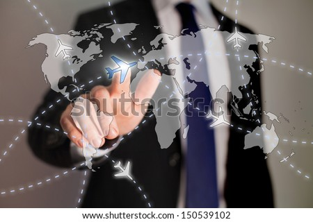 business travel concept, paths of airplanes on the world map - stock photo