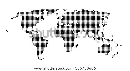 Business Travel Concept. World Map made of dots. Isolated on white background - stock photo