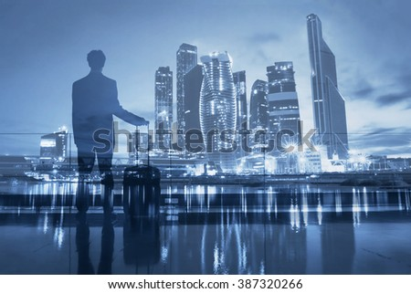 business travel, double exposure of passenger waiting in airport and modern city skyline - stock photo