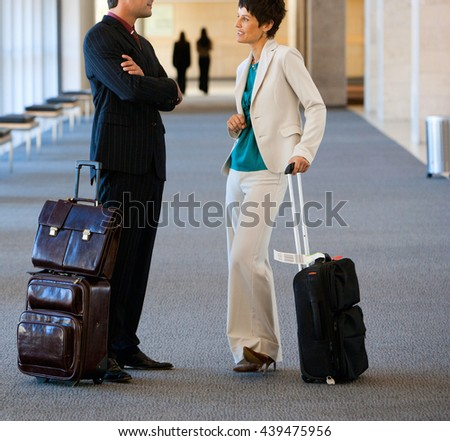 business travel walking with luggage - stock photo