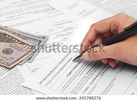 Business under loss applying for bankruptcy - stock photo
