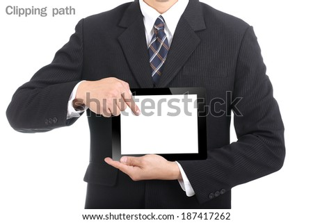 Business used finger point to touch pad with Clipping path