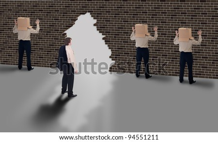 Business vision - leader with a clear view of opportunities - stock photo
