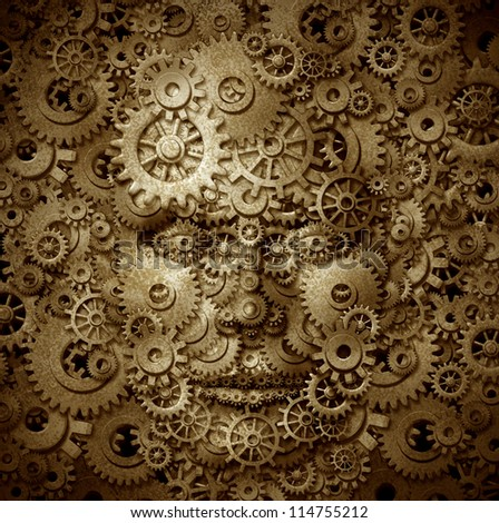 Business visionary and educator symbol with a front view human head made of gears and cogs on a grunge parchment texture as a financial concept of inventiveness and having an open mind.