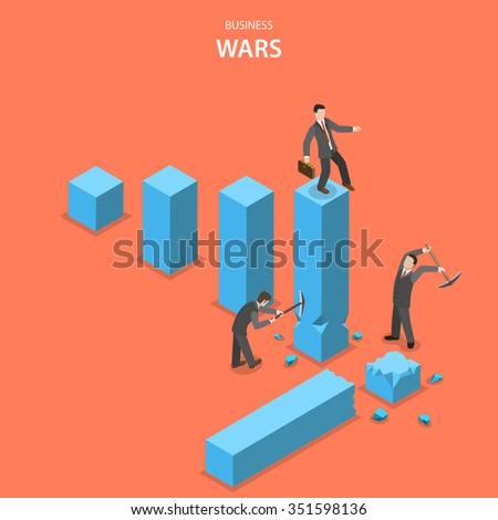 Business wars isometric flat concept. Man is jumping up on the financial graph columns but two other men impede him to do it by breaking columns. - stock photo