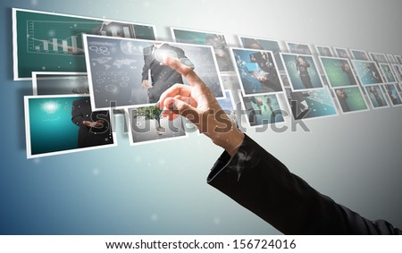 business with digital picture high technology concept - stock photo