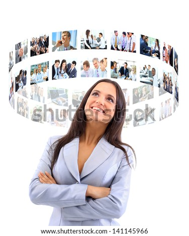 business womaman looking a virtual buttons - stock photo