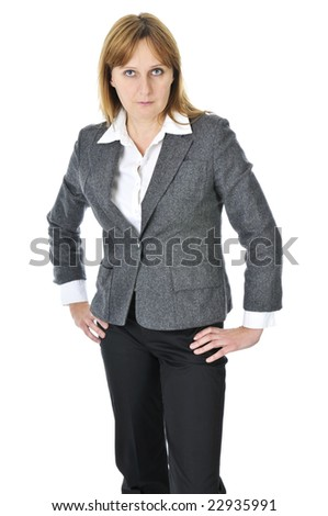 Business woman acting surprised isolated on white background - stock photo