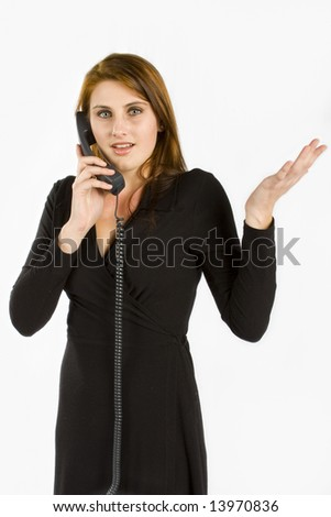 business woman against white background gesturing