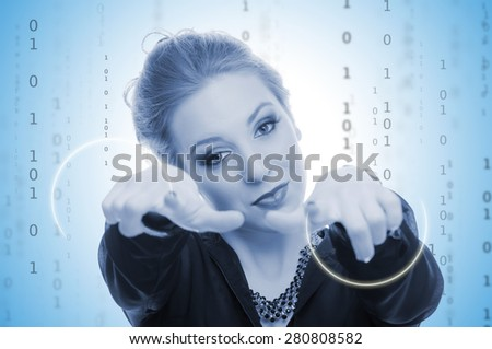 Business woman and binary code in the background - blue toned image - stock photo