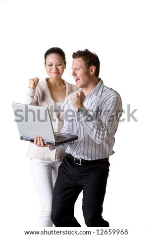 business woman and business man showing a lot of excitement looking after a sucessfull deal