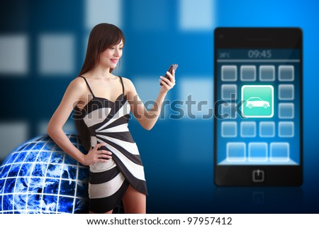 Business woman and Car icon on mobile phone : Elements of this image furnished by NASA