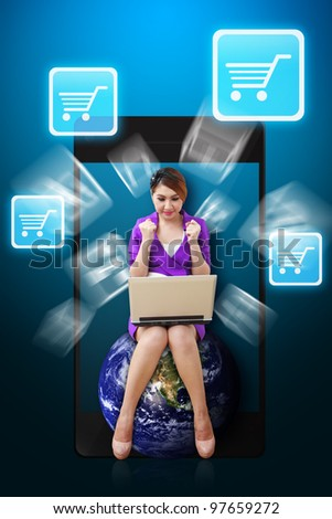 Business woman and Chart icon from mobile phone : Elements of this image furnished by NASA - stock photo