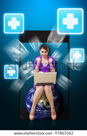 Business woman and First Aid icon from mobile phone : Elements of this image furnished by NASA - stock photo