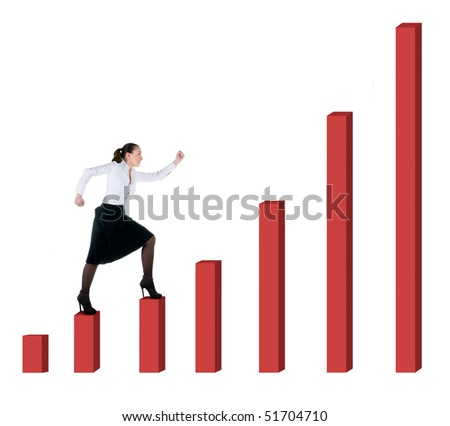 Business woman and graph progress over white background - stock photo