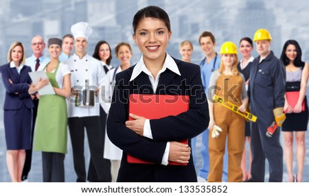 Business woman and group of workers people. Over blue background.