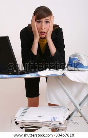 business woman and housewife in one person - stock photo